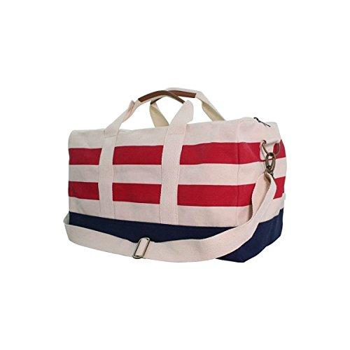 Colorblock Duffel Nautical Striped Red & Navy