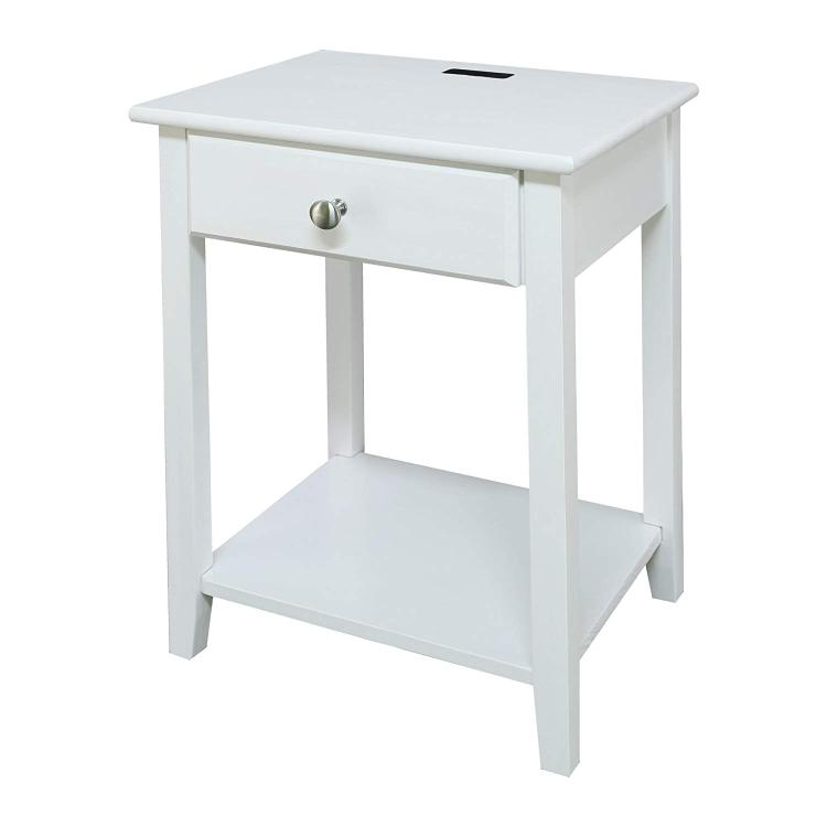 Casual Home Night Owl Nightstand with USB Port-White