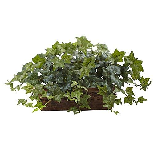 Nearly Natural Puff Ivy w/Ledge Basket