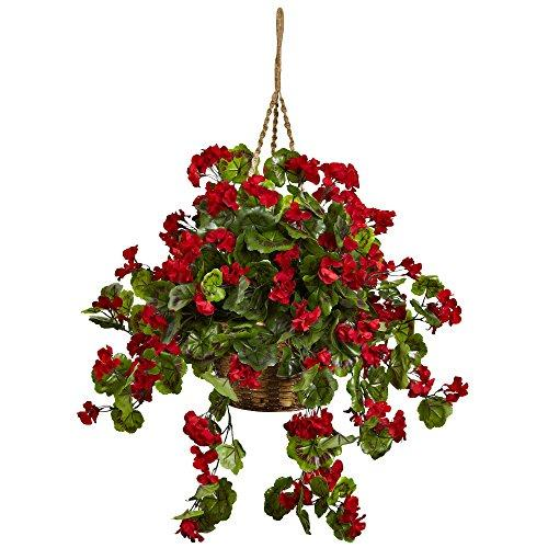 Nearly Natural Geranium Hanging Basket UV Resistant (Indoor/Outdoor) [Item # 6857-RD]