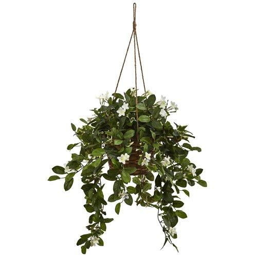 Nearly Natural Mixed Stephanotis Hanging Basket [Item # 6913A]