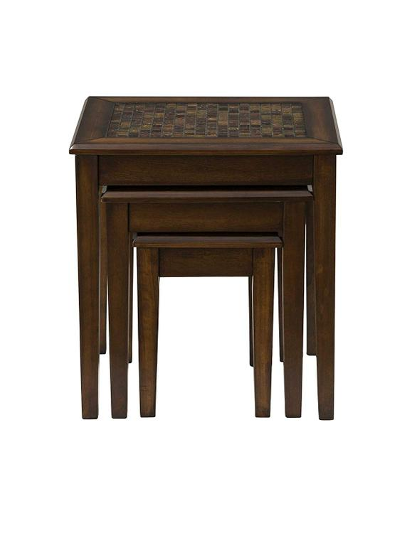 Jofran Baroque Brown Nesting Tables with Mosaic Tile Inlay
