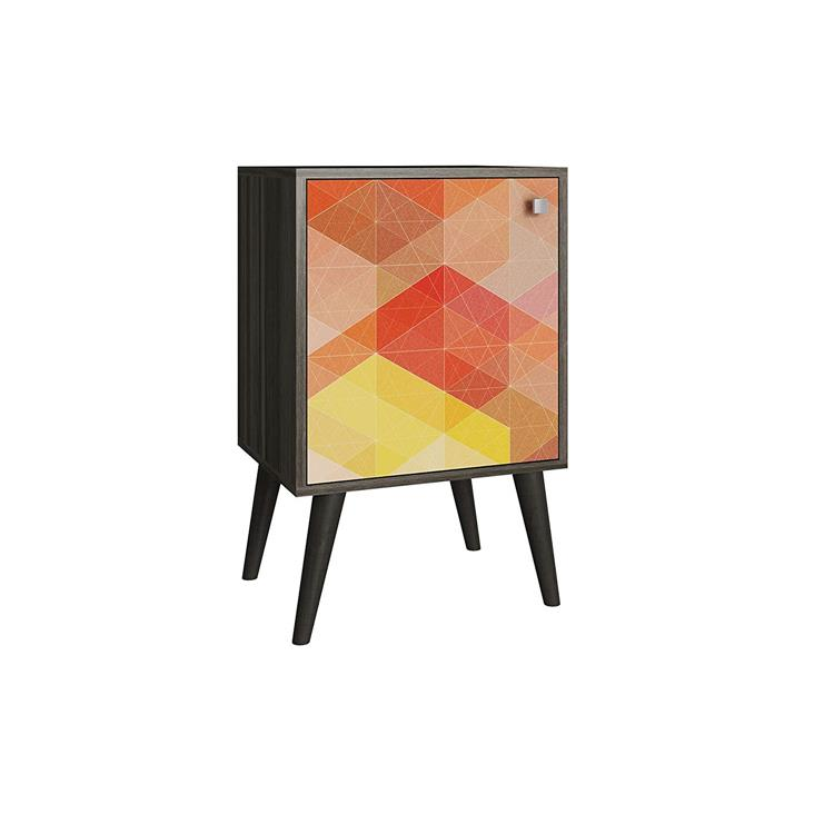 Accentuations By Manhattan Comfort Funky Avesta Side Table 1.0  With 2 Shelves Frame With Door And Feet