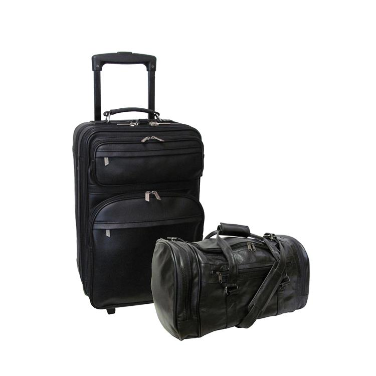 Amerileather Black Leather Two Piece Luggage Set