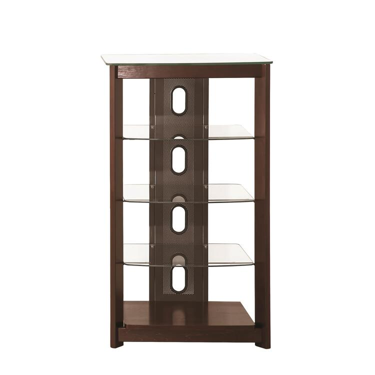 Coaster Dark Brown Media Tower With Glass Shelves