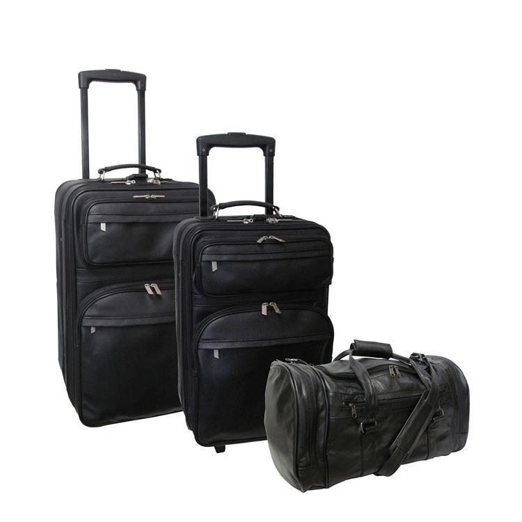 Amerileather Black Leather Three Piece Set Traveller