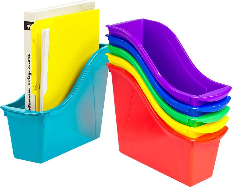 Storex Book Stackable Cubby Bin, 6-Pack