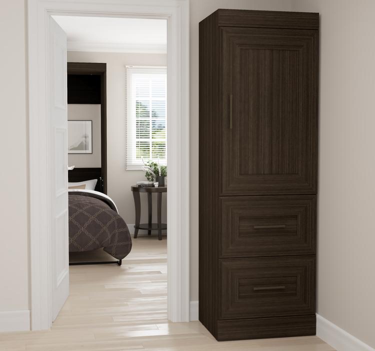 Edge by Bestar 2-Drawer Storage Unit with Door in Dark Chocolate