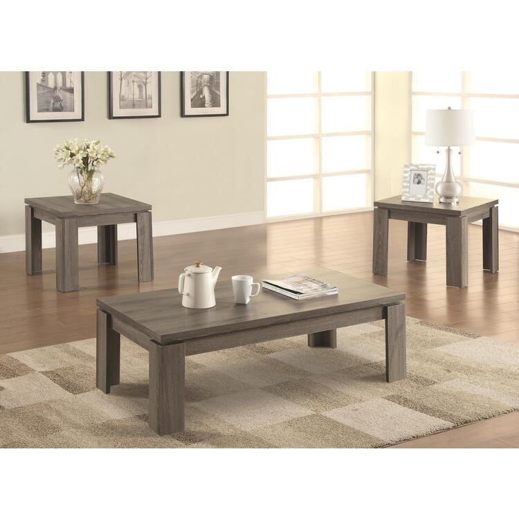 Coaster Occasional Table Sets Contemporary Distressed Grey Three-Piece Set