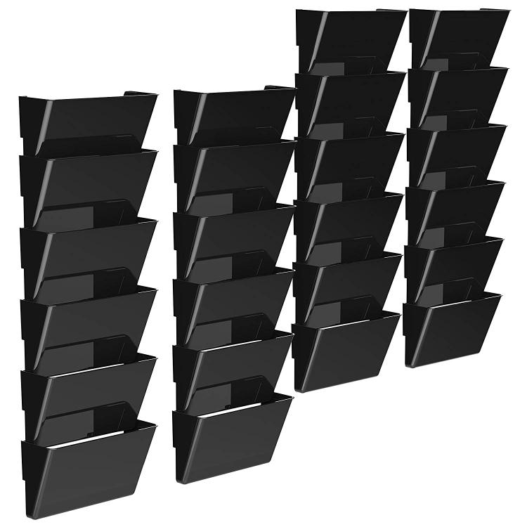 Storex Letter Recycled Wall File, Black, 24-Count