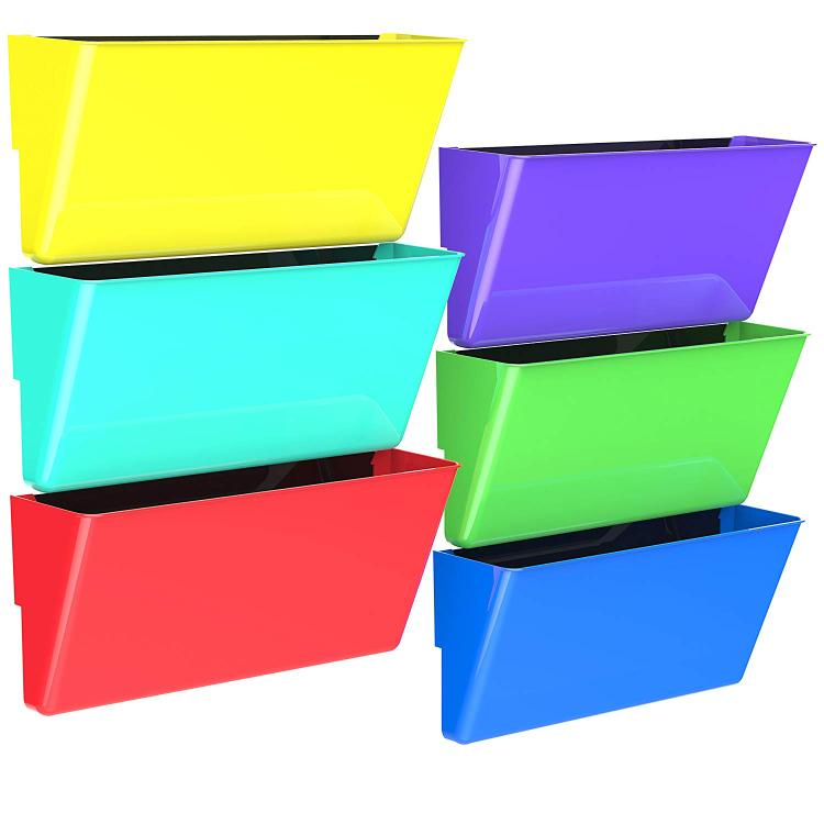 Storex Magnetic Wall Pocket, Assorted Colors, 6-Pack