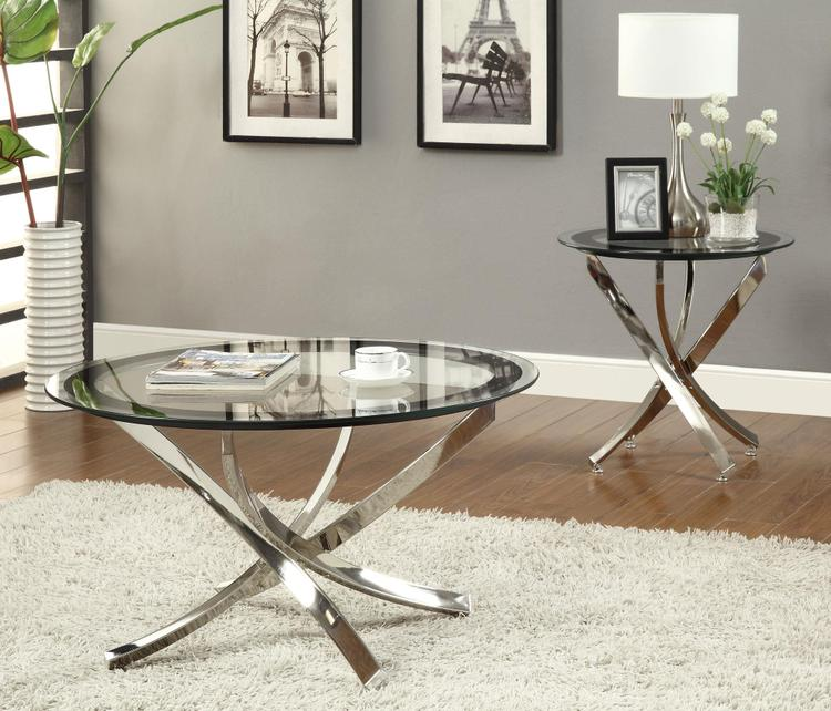 Coaster Glass Top Chrome Coffee Table