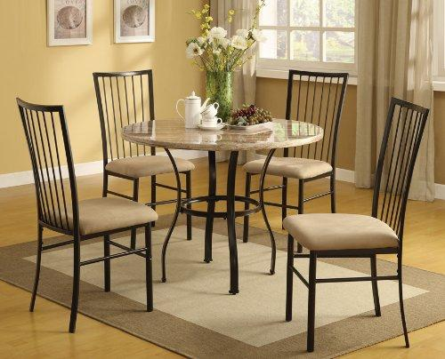 ACME Darell 5Pc Pack Dining Set, Faux Marble & Mfb