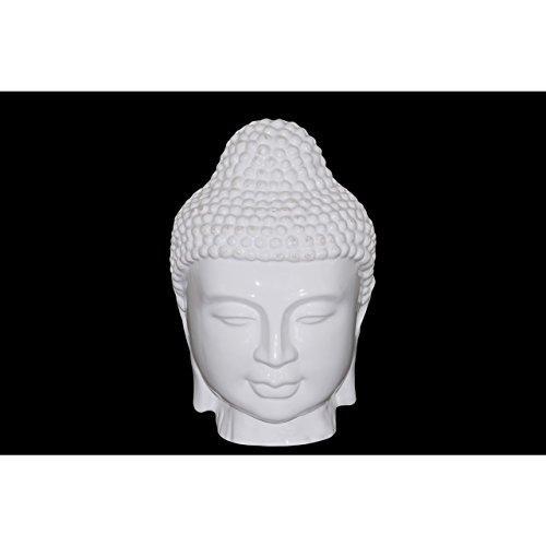 UTC70363 Ceramic Buddha Head with Beaded Ushnisha Gloss Finish White