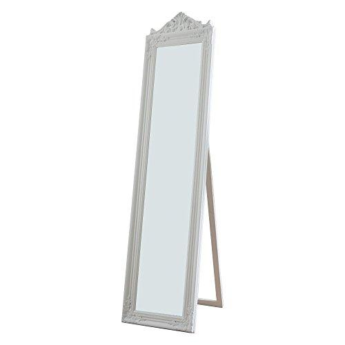 Camilla Full Length Standing Mirror with Decorative Design, White