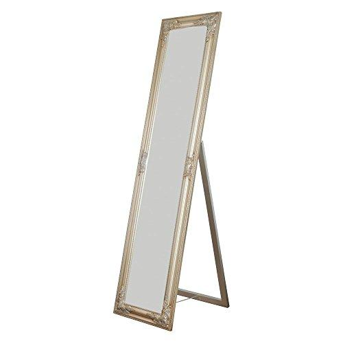 Alexandria Full Length Standing Mirror with Decorative Design, Champagne