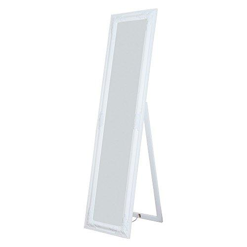 Alexandria Full Length Standing Mirror with Decorative Design, White