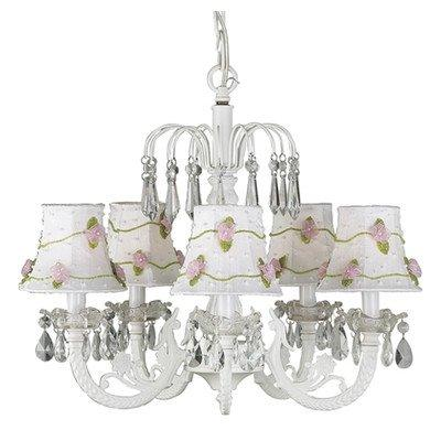 Chand - 5-arm Water Fall ? White w/ Ch Shade - Petal Flower - White/Pink