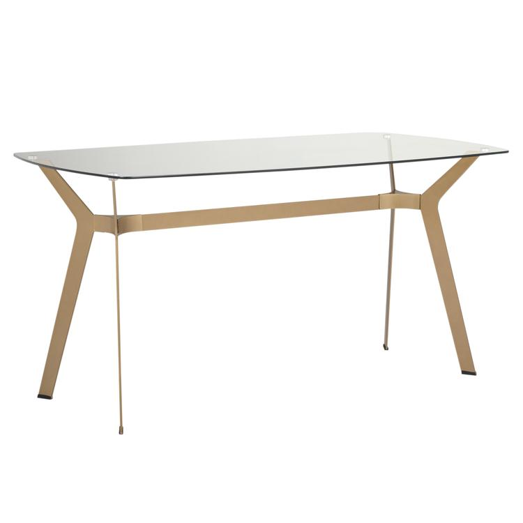 Studio Designs Home Archtech 60 - inch Modern Dining Table/Desk in Gold / Clear Glass