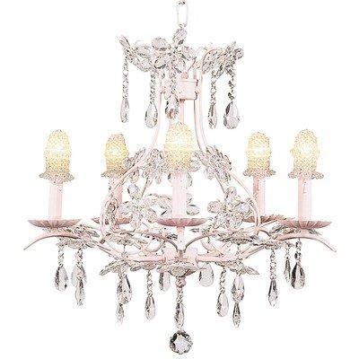 Chand - 5-Arm - Cinderella ? White w/ Ch Shade - Pink Net Flower - White
