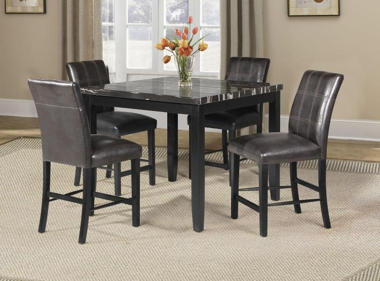 ACME Blythe Counter Height Table, Faux Marble & Black