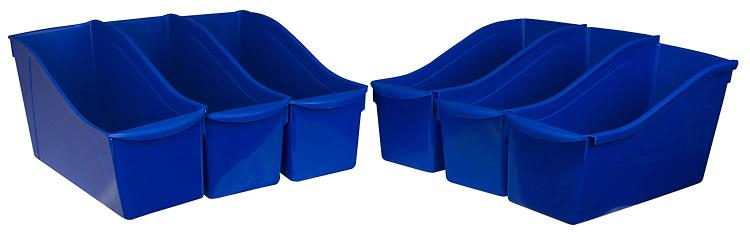 Storex Large Book Stackable Cubby Bin, 6-Pack