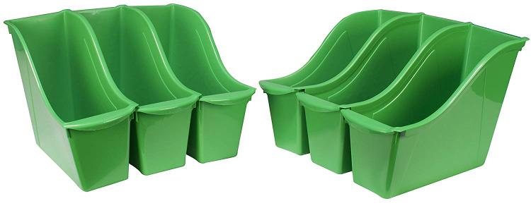 Storex Small Stackable Cubby Bin, Green, 6-Pack