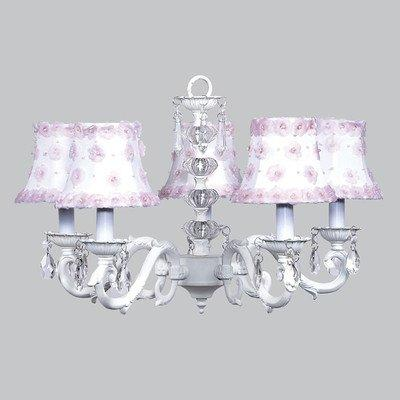 Chand - 5-arm - Glass Turret ? White w/ Ch Shade - Petal Flower - White/Pink