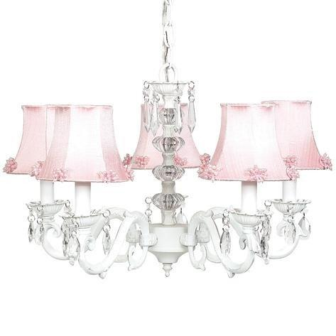 Chand - 5-arm - Glass Turret ? White w/ Ch Shade - Pearl Burst - Pink