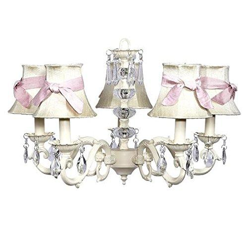 Chand - 5-arm - Glass Turret ? Ivory w/ Ch Shade - Plain ? Ivory with Pink Sashes