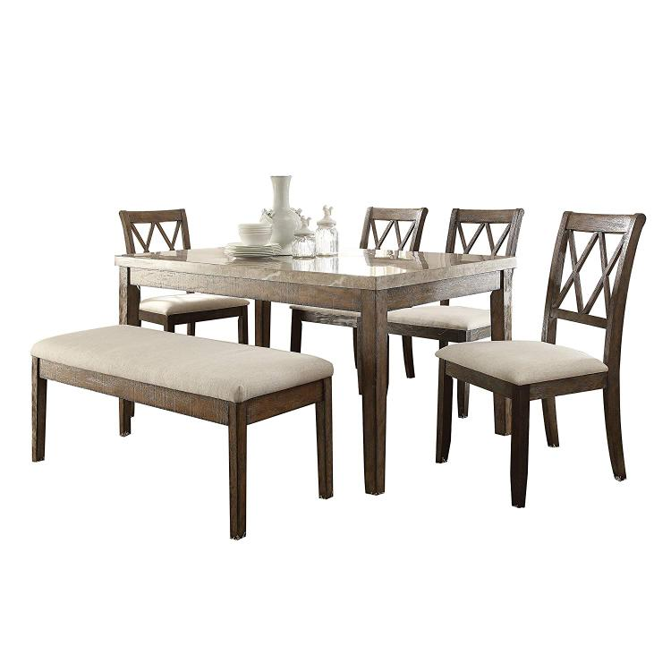 ACME Claudia Dining Table, White Marble & Salvage Brown