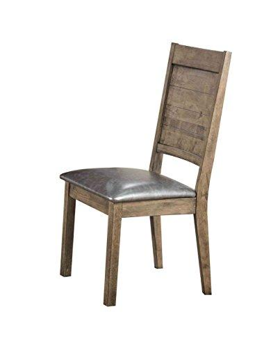 ACME Ramona Side Chair (Set-2), Silver PU & Rustic Oak