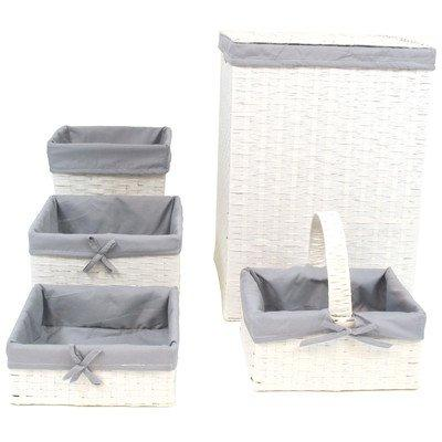 WC Redmon Five PC Hamper and Basket Set [Item # 7200WHGY]