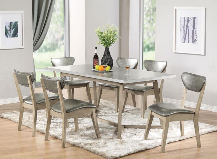 ACME Rosetta Dining Table, Faux Marble & White Washed