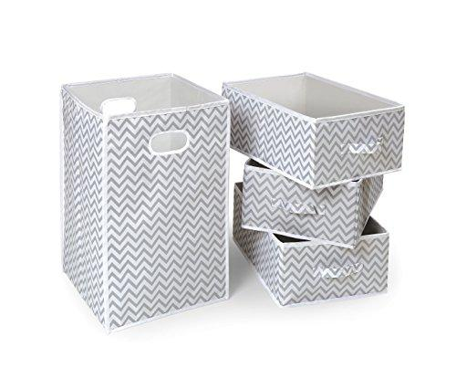 Folding Hamper & 3 Basket Set - Gray Chevron