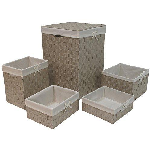 WC Redmon Five PC Hamper and Basket Set [Item # 7210BEWH]