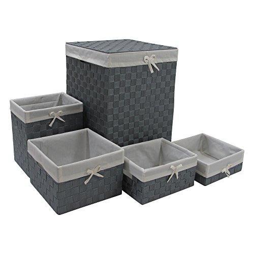 WC Redmon Five PC Hamper and Basket Set [Item # 7210GYWH]
