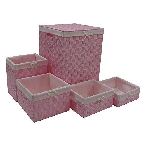 WC Redmon Five PC Hamper and Basket Set [Item # 7210PKWH]