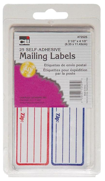 Charles Leonard Inc. 72525 Mailing Labels 25Ct