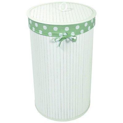 WC Redmon Round Bamboo Hamper with Polka Dot Liner