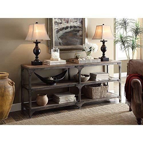 ACME Gorden Console Table, Weathered Oak & Antique Silver