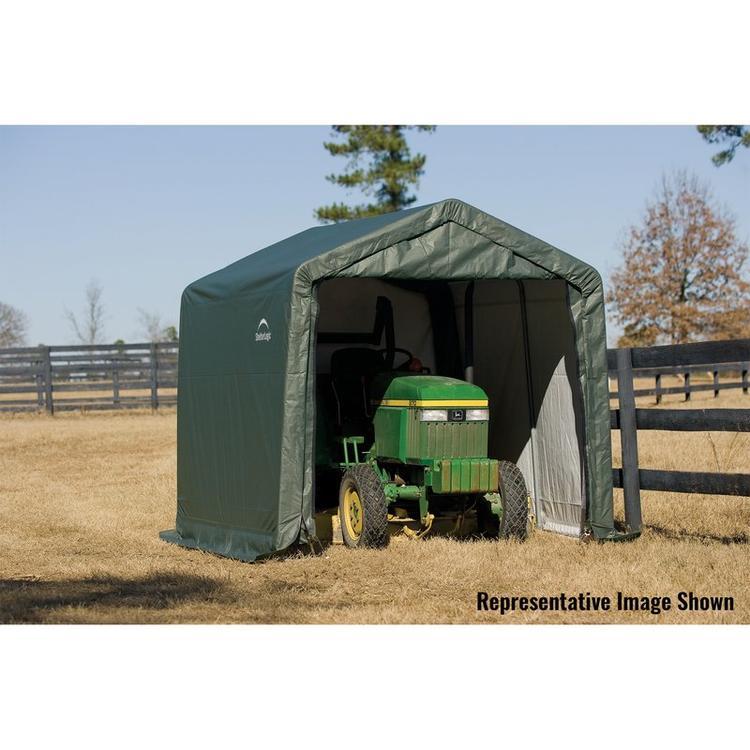ShelterLogic 11x8x10 Peak Style Shelter, Green Cover