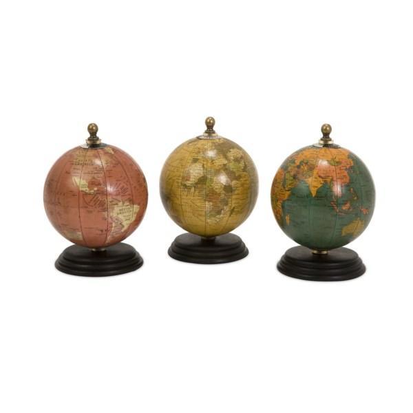 Antique Finish Mini Globes on Wood Base - Set of 3
