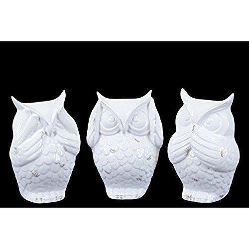 UTC73146-AST Ceramic Owl No Evil (See/Hear/Speak) Figurine Assortment of Three Gloss Finish White