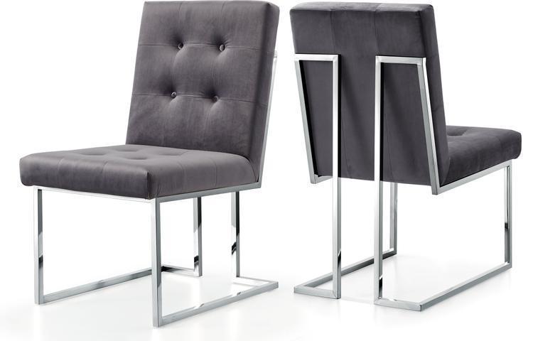 Alexis Grey Velvet Dining Chair, Set of 2