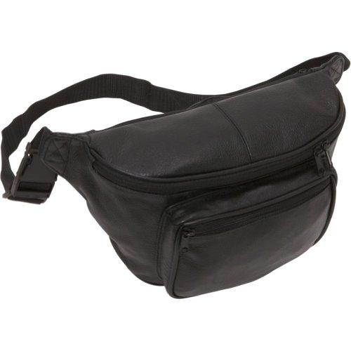 Amerileather Jumbo Size Black Leather Fanny Pack