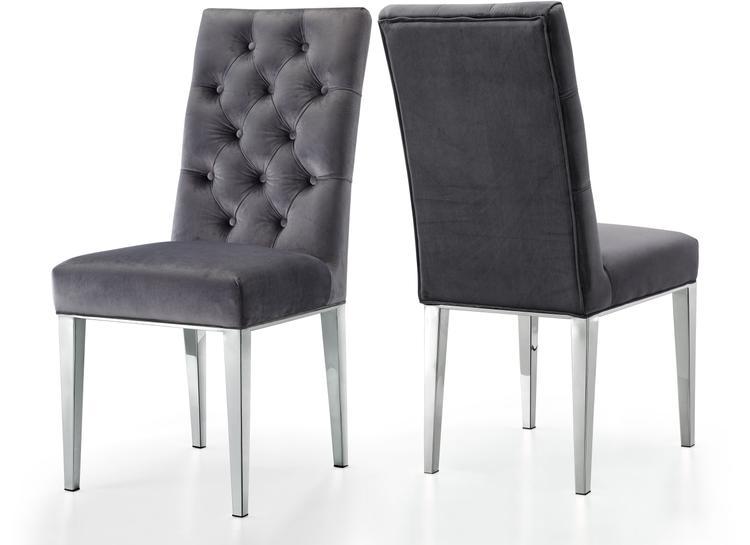 Juno Grey Velvet Dining Chair, Set of 2 [Item # 732Grey-C]