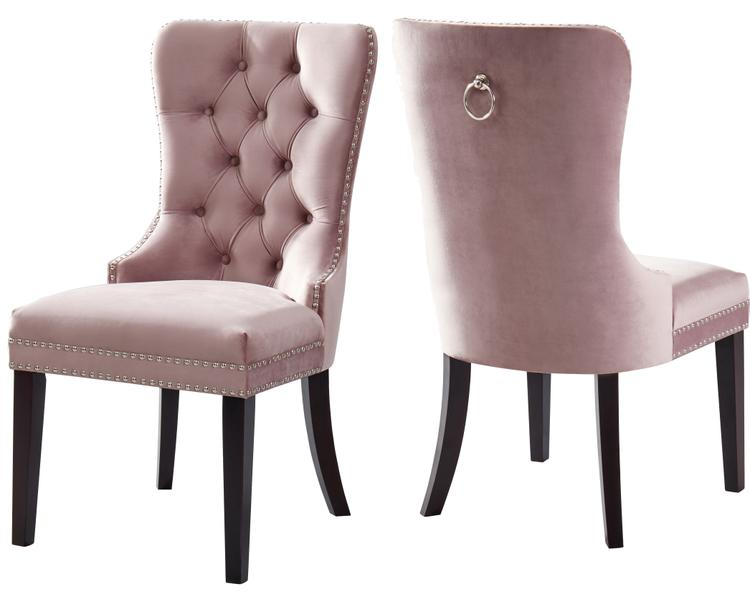 Nikki Pink Velvet Dining Chair, Set of 2