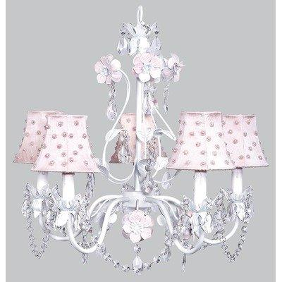 Chand - 5-Arm - Flower Garden - Pink & White w/ Ch Shade - Pink Pearl Dot