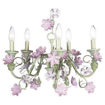 Chand - 5-Arm - Flower Garden - Ivory, Sage & Pink w/ Ch Shade - Plain ? Ivory w/ Pink sash